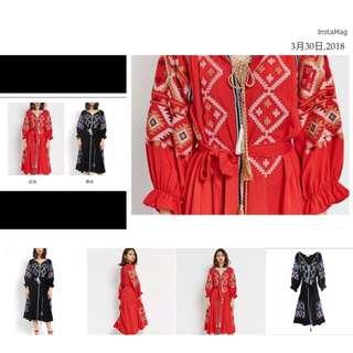 🚚 預購+現貨波西米亞#長版#連衣裙#刺繡條紋流蘇裝飾綁繩/兩色可選擇#黑色/紅色#配靴#配民族涼鞋一樣出色😆