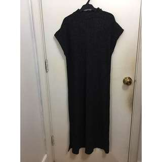 Knitted mock neck maxi dress with slits (BNWT)