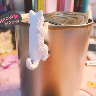 滿百贈送。杯緣貓咪 白貓 扭蛋