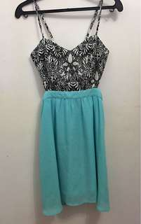 B&W Print and Teal cut out dress (BNWT)