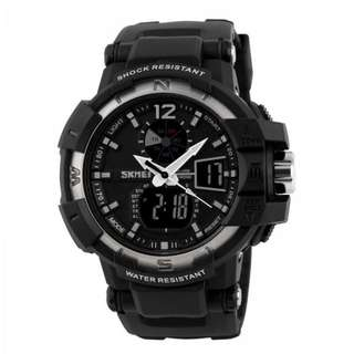 SKMEI AD1040 SILVER WITH BLACK RUBBER STRAP WATCH FOR MEN - COD FREE SHIPPING