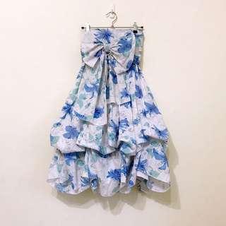 🚚 夏季熱帶南島風大花印花綁帶大蝴蝶結背鬆緊帶平口多way蓬蓬裙長洋裝
