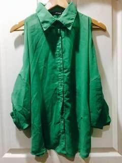 Green see thru polo blouse long sleeve