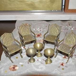 Tiny metal chairs