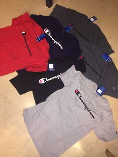 Champion Logo Shirt Color Red,Black,Gray,Blue and Charcoal