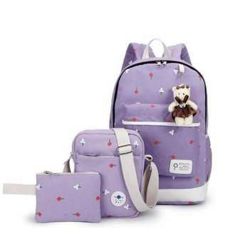 korean 3in1 bagpack set