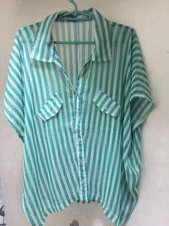 Green Stripes Sheer Top (F&H)