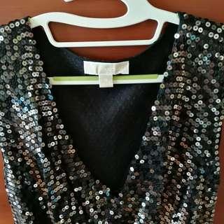 Black Sequin Cowl Neck Dress