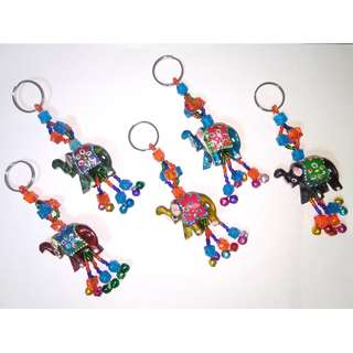 Keychains - Asorted Hand Craft Wooden  Elephant Peacock Show Pieces