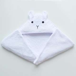 CHESTER BUNNY HOODED TOWEL IN WHITE