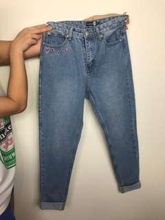 MOM Jeans! Light Blue Wash and Pink Embroidery