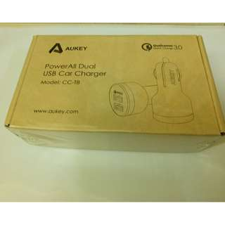 Brand New Sealed Aukey CC-T8 Car Charger Quick Charge High Wall Adapter Qualcomm certified 3.0 rapid USB