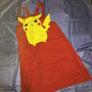 皮卡丘可愛紅色圍裙 買就送飛天小女警兒童畫畫寫書法保護袖套圍裙