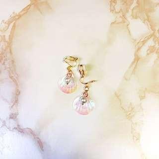 貝殼珍珠耳夾❤️