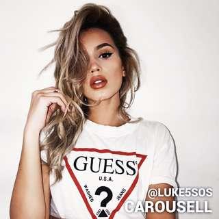 INSTOCKS Gue$$ logo T-shirt Top t shirt - white guess
