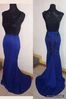 Blue mermaid open back Gown for rent