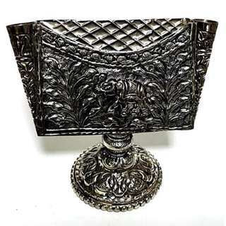 Antique  style name card holder in brass silver finish