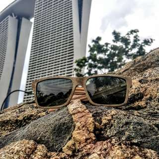 Sunglasses mix wood and stone