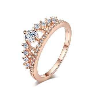 鍍玫瑰金/鍍白金皇冠鑲嵌寶石戒指 $68/件