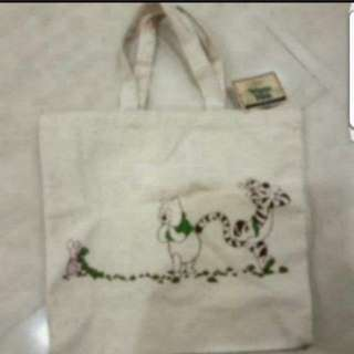 In Stock Winnie The Pooh Green Reuseable Bag Reduce Carbon Footprints Size is 31 × 9 × 31cm