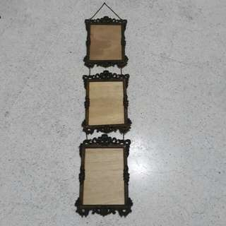 vintage Made in Italy set of 3 hanging brass photo frames