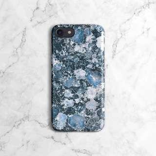 Blue Granite Marble Stone Print Phone Case