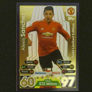 最新 17/18 Match Attax Extra GOLD Limited Edition - Alexis SANCHEZ #Manchester United 曼聯