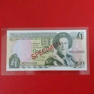 Jersey 1 Pound SPECIMEN Note
