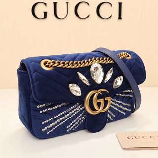 Gucci marmont flap bag in suede royal blue