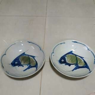 AAG~Old antique hand paint fish plate