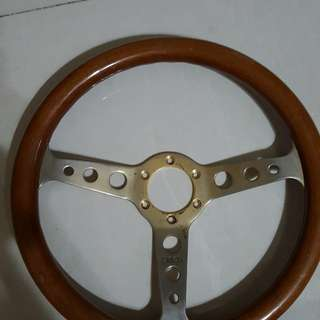 DINOS Steering wheel wood grain chrome spoke ORIG