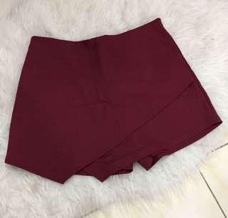 Burgundy pants skirt