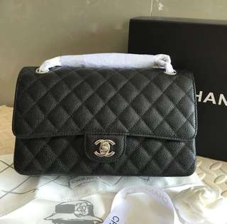 Chanel double flap chain bag in black caviar leather
