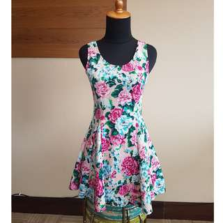 Pink Roses Mini FitBody Dress