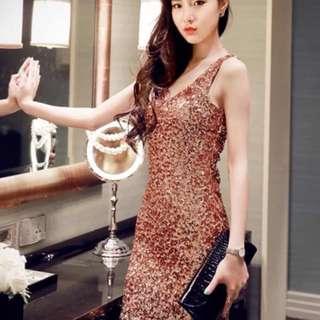 sexy nightclub women's V-neck slim backless sequins hip skirt dress dress dress skirt Korea