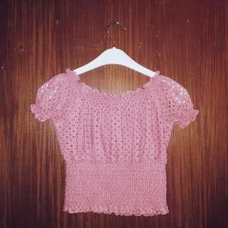 Pink Lacey Off-Shoulder