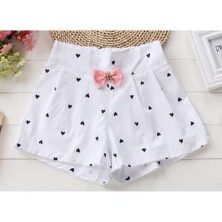 Short Pants with Heart Print (Green / White)