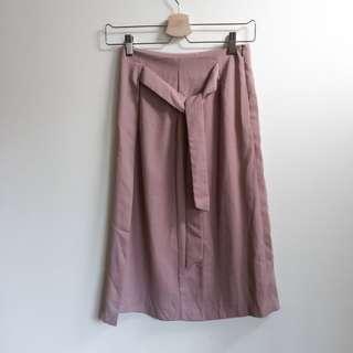 🚚 質感裸粉色綁帶直條紋半身裙 pazzo nude leme studio room4 soulsis