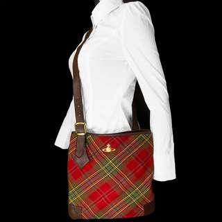 英國Vivienne Westwood紅色經典格紋肩背包 日本製