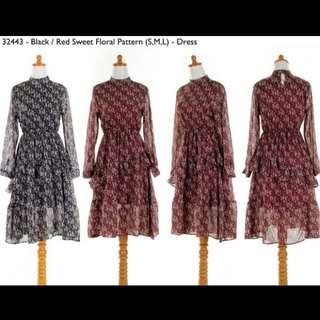 Floral dress.  Dress bunga. Dress shiffon