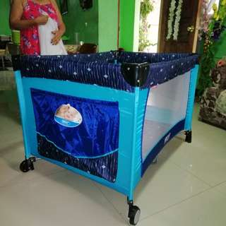 REPRICED Irdy Blue Baby Playpen Crib