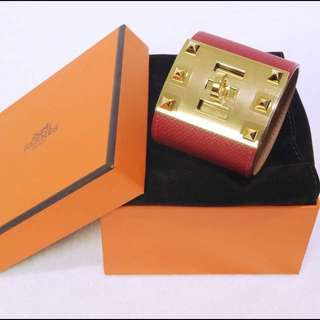 全新 愛馬仕 手鐲 紅色 全新 Hermes Epsom Bracelet Extreme Rouge Casaque (new)