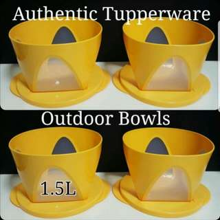 Authentic Tupperware  Outdoor Bowls 1.5L  17.68cm(D) x 11.03cm(H)  Retail Price S$18.00 《Now S$9.00/each》 yellow tupperware