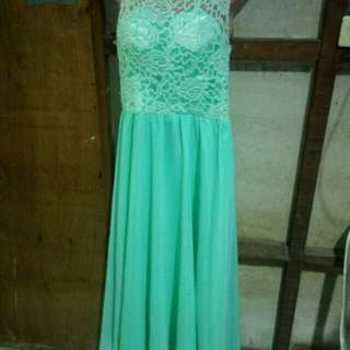 Mint green long dress FOR RENT ONLY