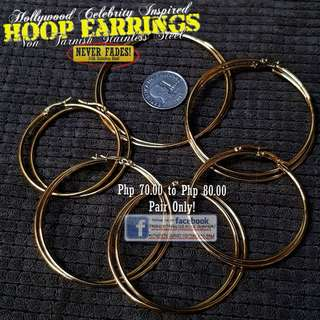 GOLD HOOP Earrings (Simple) 6 Sizes Available - Non Tarnish