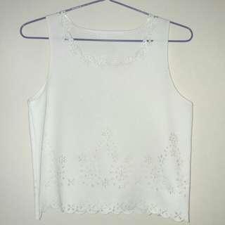 白色通花背心上衣