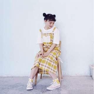cats_日系 童趣古著 黃色格子 吊帶裙