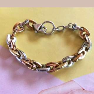 Premium Quality Stainless Steel Tricolor Design Chunky Bracelet