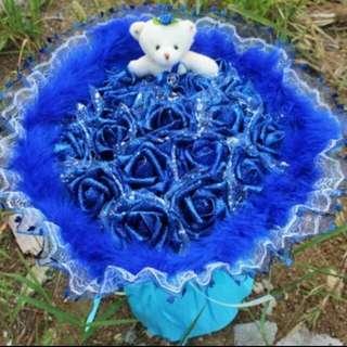 18 Blue Soap Roses + 1 Lovely Bear Bouquet