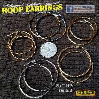 TEXTURED HOOP Earrings - Non Tarnish (STAINLESS STEEL)